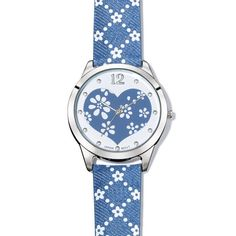 "Flower power! Unique 9"" L denim strap proves that you can really wear jeans anytime, anywhere! Silvertone case. Regularly $29.99, shop Avon Jewelry online at http://eseagren.avonrepresentative.com"