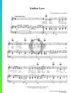 Endless Love by Lionel Richie and Diana Ross - Piano Sheet Music Lionel Richie, Endless Love, Diana Ross, Piano Sheet Music, Special Occasion, Songs, Traditional, Holiday, Vacations