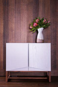 American Oak and Walnut drinks cabinet - mirror back