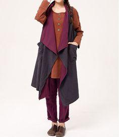 Loose fitting large size Sleeveless coat women by MaLieb on Etsy