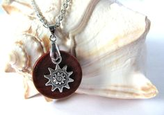 Eco Friendly Necklace Silver Color Metal Sun or Gear Charm Redheart Wood Pendant Handmade Wooden Jewelry by Hendywood