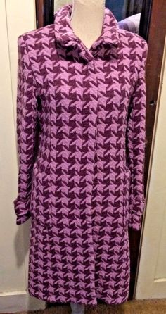 VINTAGE COAT, PINK, FUCHSIA WOOL BLEND IN CHECK PATTERN, BY MARVIN, MISSES LARGE #MARVIN