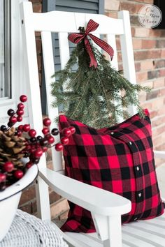 Repurposed Shirt Buffalo Plaid Pillow | Christmas Door Decor | Festive & Frugal Christmas Porch Decor | Ideas for adding easy touches of Christmas to welcome your family and friends to your home.