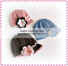 Crochet Newsboy Hat Beanie and Detachable Flower Boy and Girl SIZES Newborn to 4T - PDF Crochet Pattern No. 42 by AngelsChest