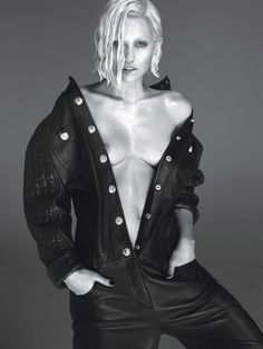Miley Cyrus with leather quilted dungarees for W Magazine