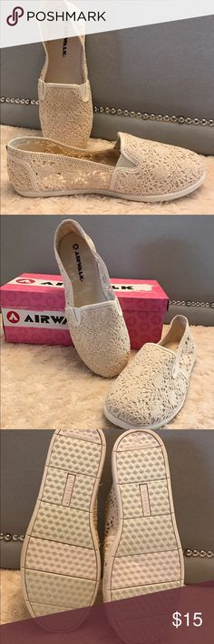 Canvas crocheted slip on shoes New without tags. Never been worn. Cream colored crocheted canvas slip on flats. Perfect for summer. Rubber sole makes them a breeze to walk in. Airwalk Shoes Flats & Loafers