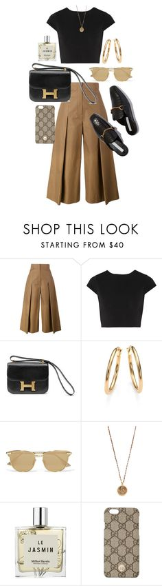 """Untitled #22483"" by florencia95 ❤ liked on Polyvore featuring Fendi, Alice + Olivia, Hermès, Roberto Coin, Le Specs, Native Gem, Miller Harris and Gucci"