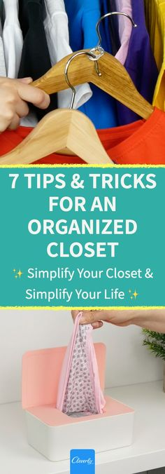 7 Tips & Tricks For An Organized Closet | #cleverly #diy #tips #tricks #hacks #fyi #dyk #tipsandtricks #lifehacks #tutorial #howto #cleaning #cleaninghacks #organizing #organizinghacks #homesweethome #closet #cleancloset #tidyhome #upcycle #recycle #foldingclothes #fold #foldinghacks #spacesaving #spacesaver #savemoney #quickandeasytip #organizedhome #simplifyyourlife Cleaning Closet, Cleaning Hacks, Closet Organization, Organizing, Home Hacks, Getting Organized, Clutter, Lifehacks, Tips