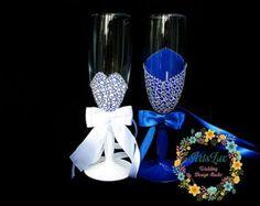Plumeria Wedding Champagne Glasses-Yellow&White by ArtsLux on Etsy