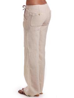 31e2b037080 Camel Relaxed Linen Pants for Women Model Rok