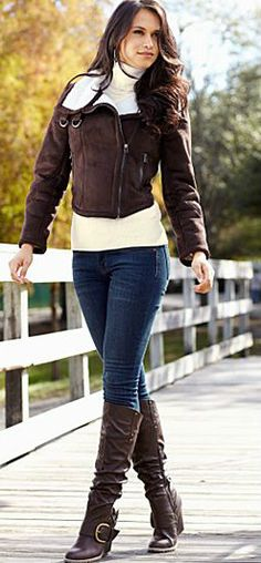 so cute! dark brown boots and jacket! medium wash jeans and cream sweater.