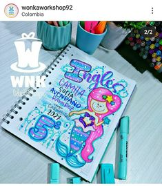 School Frame, Notebook, Neon, Lettering, Instagram, Videos, Creative Notebooks, Decorated Notebooks, Neon Colors