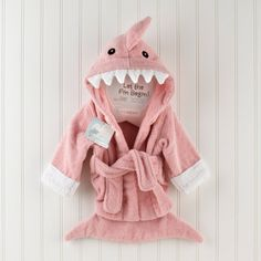 Baby Aspen Let the Fin Begin Pink Shark Robe, Infant Girl's - BA14003PK