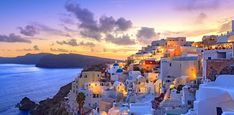 Santorini sunset at dawn village of Oia Greece. Santorini sunset at dawn village of Oia Greece Mykonos, Romantic Vacations, Romantic Getaways, Romantic Honeymoon, All Inclusive Urlaub, Oia Greece, Ikaria Greece, Santorini Sunset, Santorini Island