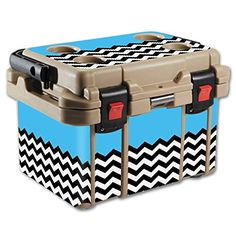 MightySkins Protective Vinyl Skin Decal for Pelican 20 qt Cooler wrap cover sticker skins Baby Blue Chevron *** Be sure to check out this awesome product. (This is an affiliate link) #CoolersandAccessories