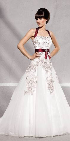 wedding dress with red accents, from Elizabeth Passion