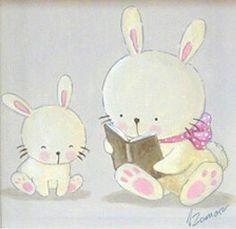 Aida Zamora - Art. Custom paint. Cuadro infantil personalizado. bunnies reading a story