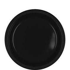 Jet Black 9'' Plastic Plates | 20ct