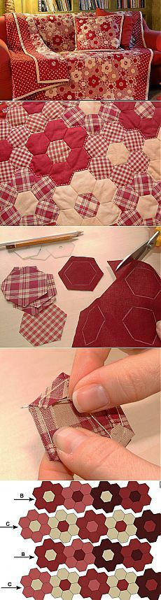 Manta en la técnica del patchwork & quot; de la abuela bed & quot flor;