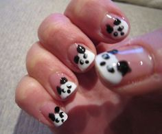 #Panda Black And White Nail Art - DELARIZ