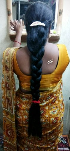 Tamil girl with long braid of hair