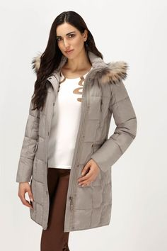 Racoon Fur Trim Down-Filled Coat