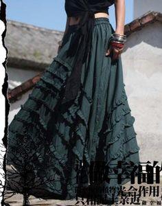 Green Long skirt  fashon skirts women Skirts women dress. $58.50, via Etsy.