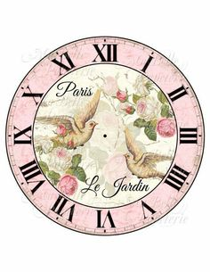 Shabby Chic Clock-DIY French Inspired Clock Face with Beautiful Roses and Doves Decoupage Vintage, Vintage Diy, Vintage Labels, Vintage Paper, Clock Art, Diy Clock, Vintage Pictures, Vintage Images, Clock Printable
