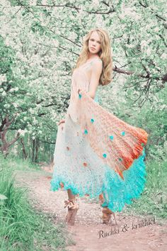 """Dress maxi crochet knitted boho gypsy grecian goddess wedding hand dyed degrade ombre turquoise shell silk """" Aphrodite Anadyomene"""". $1,600.00, via Etsy.  (I'm going to attempt to crochet a dress!)"""