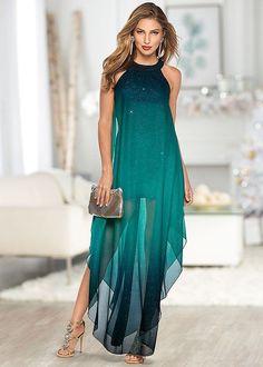 Venus Women's Ombre Glitter Long Dress - Blue/green, Size XL