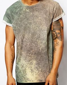 Image 3 of ASOS T-Shirt With Acid Wash And Rolled Sleeves