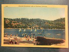 Old Postcard, BEAUTIFUL STRAWBERRY LAKE AT PINECREST, CALIFORNIA