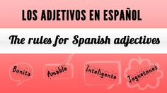"""This video is part of a lesson about Spanish adjectives. It explains the rules to use adjectives in Spanish, called """"adjetivos"""", in simple sentences. It covers what are adjectives in Spanish, where they are placed in a sentence, as well as Spanish adjective gender and plural form. You will see and listen to several examples using """"adjetivos"""" and also a simple description at the end of the video.Esperamos que te sea útil  :)"""