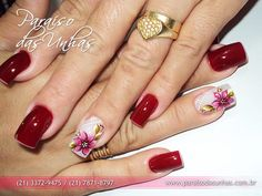 Unhas decoradas com flores em carga dupla (Ana Paula VIllar) Bling Nails, Fun Nails, Pretty Nails, Mani Pedi, Manicure And Pedicure, New Nail Art, Autumn Nails, Flower Nails, Nail Tips