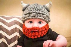 Viking helmut with red beard crochet beanie