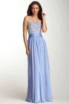 La Femme Rhinestone Encrusted Sweetheart Gown