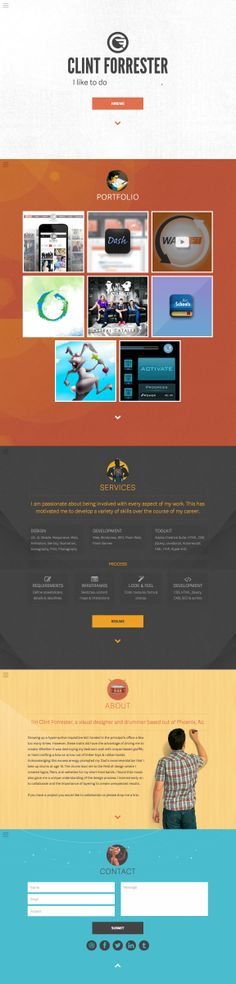 Responsive one page portfolio for designer, Clint Forrester, that features the trendy slide-out side navigation we're seeing a lot of these days.