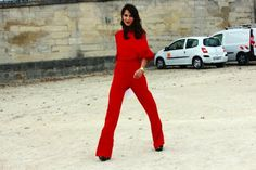Street style: Red Jump Suit - Stylehunter.com