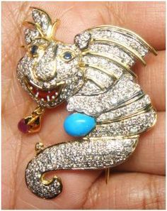 """""""Arnaud""""...only $3,700 or P162,800!! Exquisite 2.58ct Diamond & Turquoise Brooch /20.640G! Imported, world-class quality, not pre-owned, not pawned, not stolen. We deliver worldwide <3"""