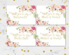 Will You Be My Bridesmaid Printable set DIY Wedding cards