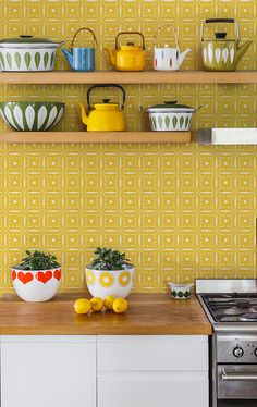 Layla Faye showcases a fresh, vibrant interior range of wallpapers, cushions and lampshades. Funky Kitchen, Kitchen Tiles, Kitchen Interior, Interior And Exterior, Home Kitchens, Small Kitchens, Wallpaper Furniture, Yellow Tile, Country Kitchen Farmhouse