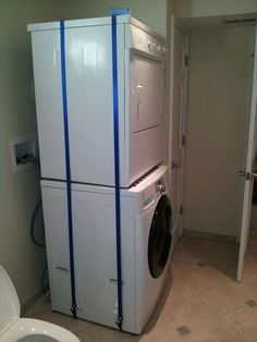 Just Had To Share This Dryer Stacking Solution. My Dad Recently Had To  Replace His Washing Machine, But The Old Dryer Worked Fine. He Kept The  Dryer, ...