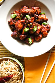 """Street food is a big deal back in Kerala and by far the most sought after delicacy is the """"Chilly Chicken and Parrotta"""" that you will find in any and every """"Thattukadda"""" (a make shift restaurant th… Chilli Chicken Recipe, Chinese Chicken Recipes, Chilli Recipes, Chicken Parmesan Recipes, Veg Recipes, Baked Chicken, Indian Food Recipes, Asian Recipes, Cooking Recipes"""