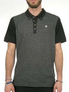 Core Collection Polo for men by LRG. 50% cotton, 50% polyester. Model is wearing a size medium.