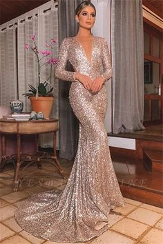 Mermaid Sexy Silver Backless Lone-Sleeves V-Neck Sequins Evening Dresses - Prom Dresses Design Sequin Evening Dresses, Mermaid Evening Dresses, Sequin Dress, Evening Gowns, Evening Party, Chiffon Dresses, Satin Dresses, Sleeveless Dresses, Bodycon Dress