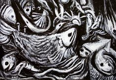 Black and White Abstract Paintings | new, Japonism, abstract, living thing, black and white, surreal ...