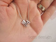 LOVE Tiny Silver Lowercase Initial & Ampersand by TomDesign