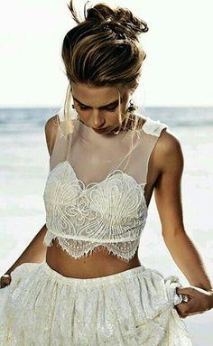 Crop Top Wedding Dress // Beach Wedding Dress //