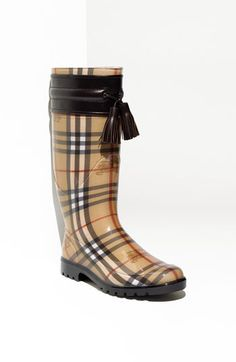 Burberry Leather Trim Rain Boots in Dark Chocolate - Oh how perfect!
