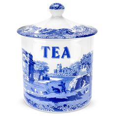 Blue Italian Covered Tea Canister In Blue And White